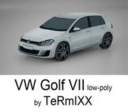 VW Golf VII Low-poly 3d model
