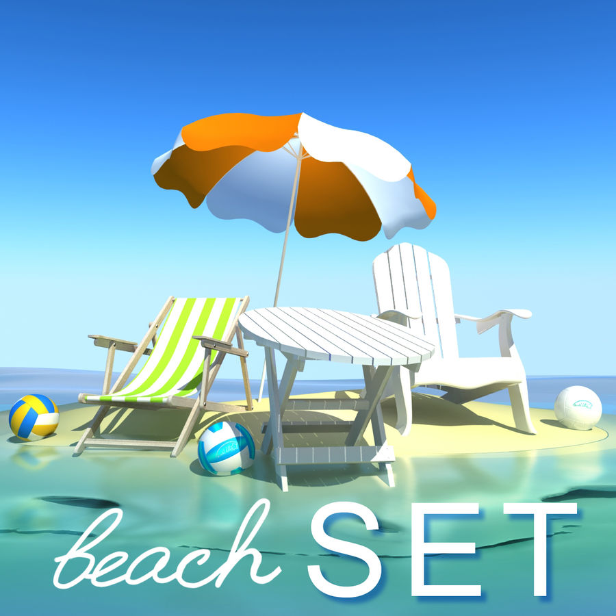 Beach Set Extended royalty-free 3d model - Preview no. 1