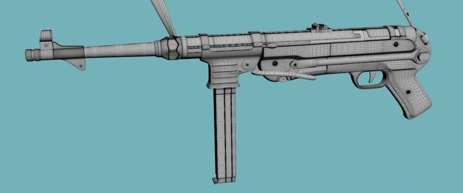 MP40 Gun Weapon royalty-free 3d model - Preview no. 2