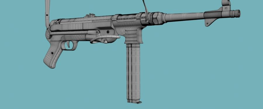 MP40 Gun Weapon royalty-free 3d model - Preview no. 3