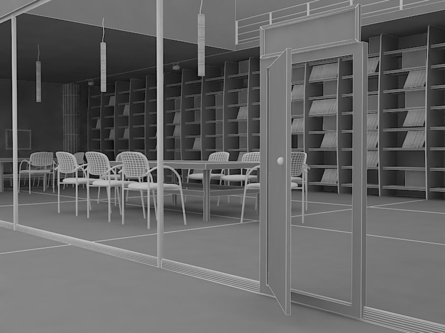 Realistic Library Interior royalty-free 3d model - Preview no. 5