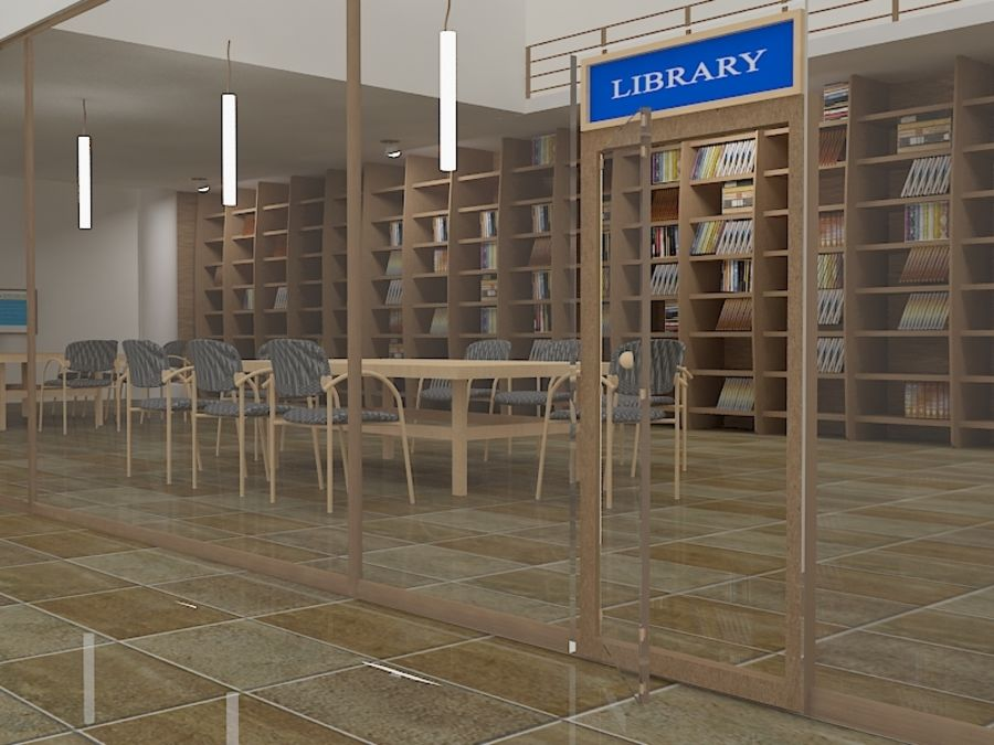 Realistic Library Interior royalty-free 3d model - Preview no. 2