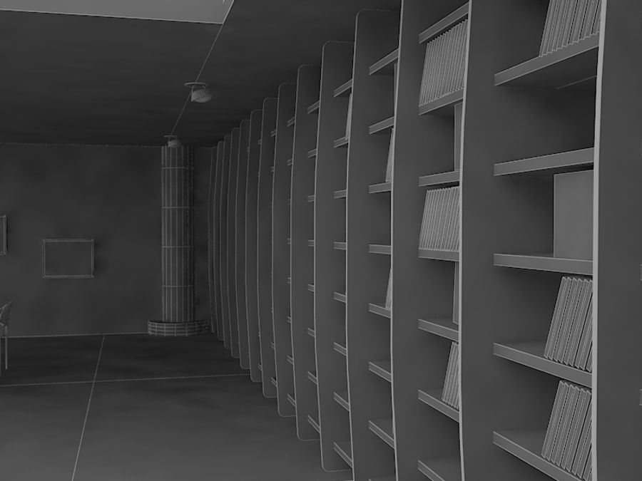 Realistic Library Interior royalty-free 3d model - Preview no. 7