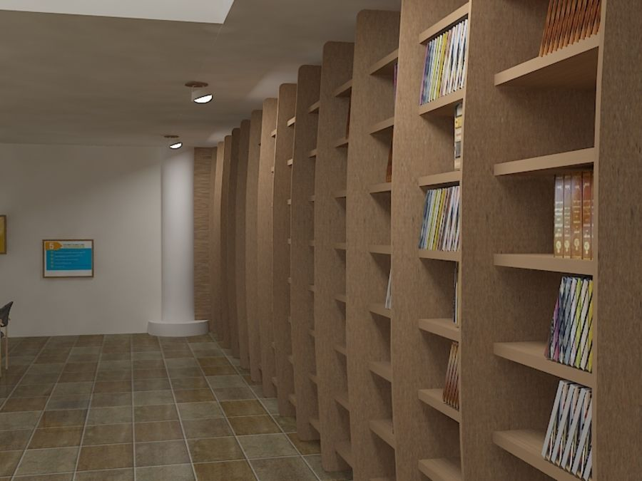 Realistic Library Interior royalty-free 3d model - Preview no. 4