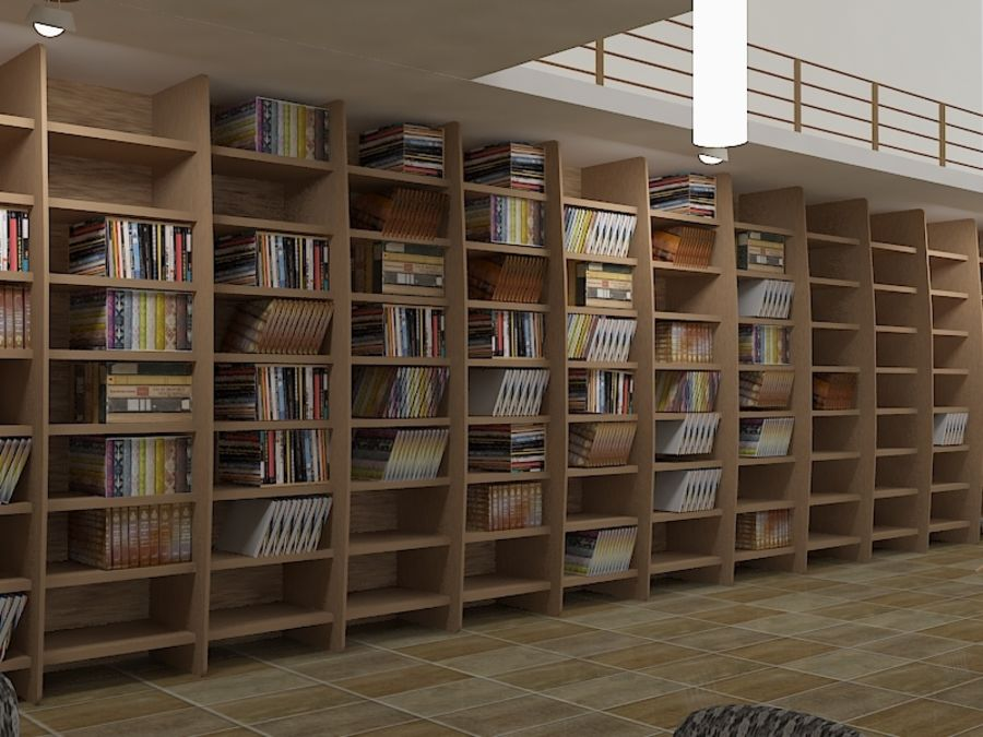 Realistic Library Interior royalty-free 3d model - Preview no. 1