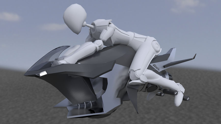 Hover Bike Shark FL1 royalty-free 3d model - Preview no. 2