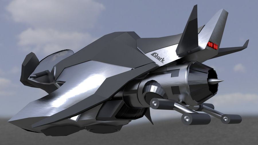 Hover Bike Shark FL1 royalty-free 3d model - Preview no. 1