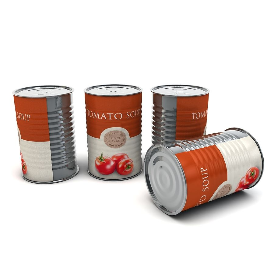 Food Can - Tomato soup royalty-free 3d model - Preview no. 2