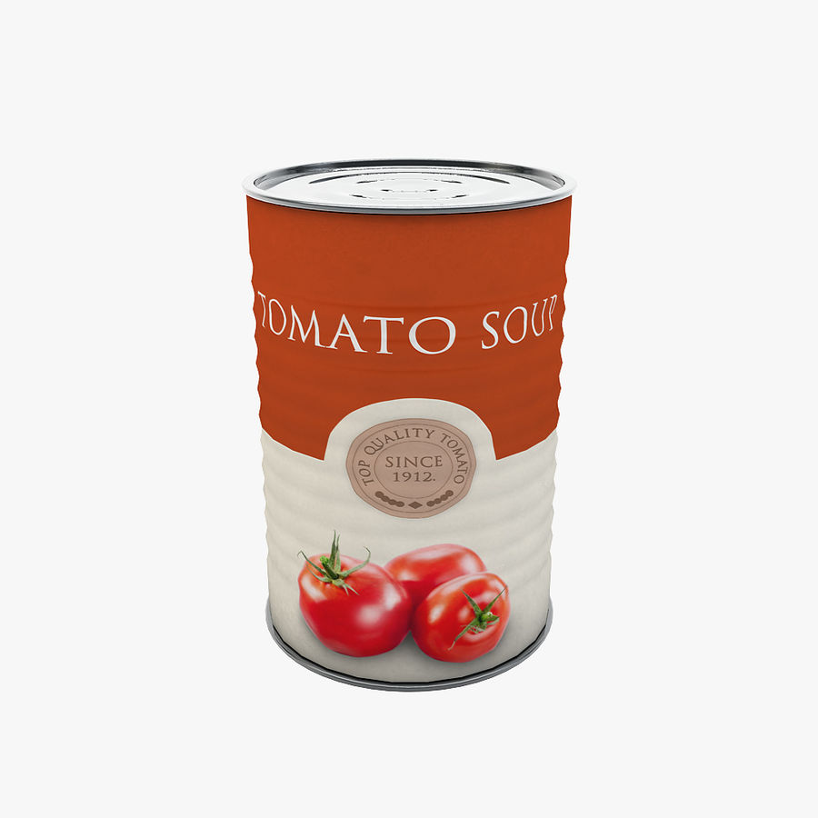 Food Can - Tomato soup royalty-free 3d model - Preview no. 1