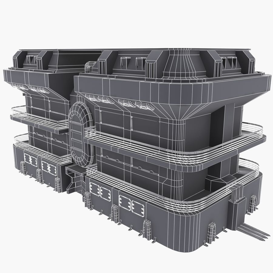 SCI FI BUILDING royalty-free 3d model - Preview no. 8