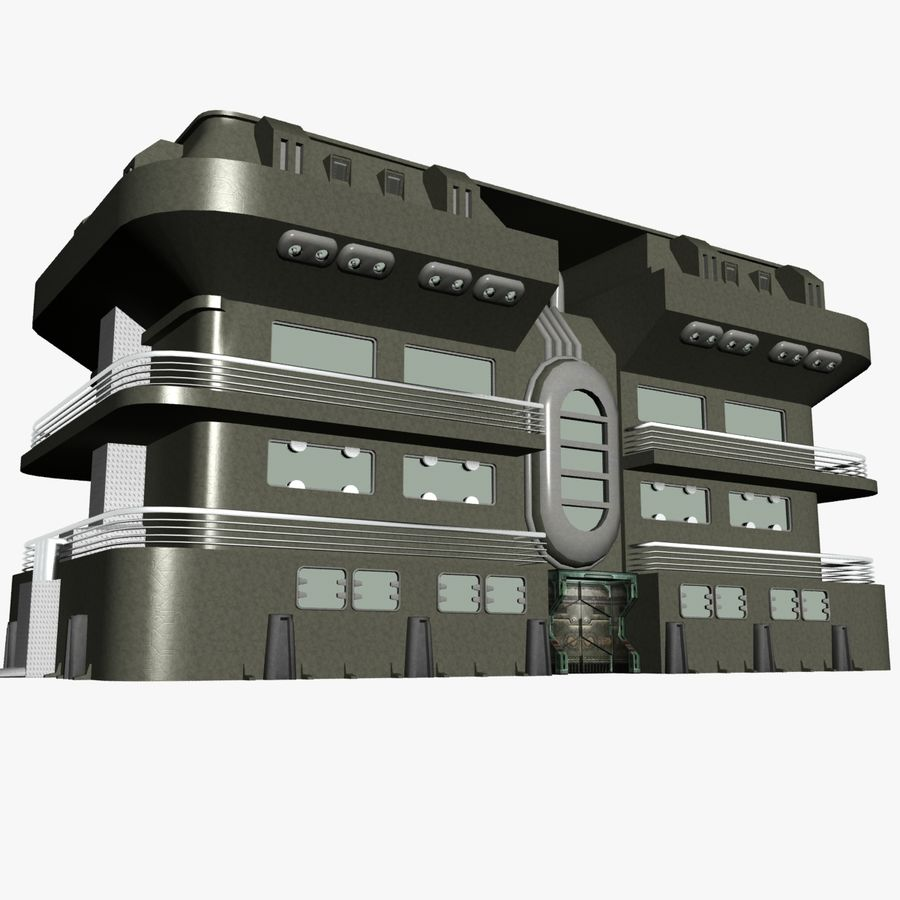 SCI FI BUILDING royalty-free 3d model - Preview no. 4
