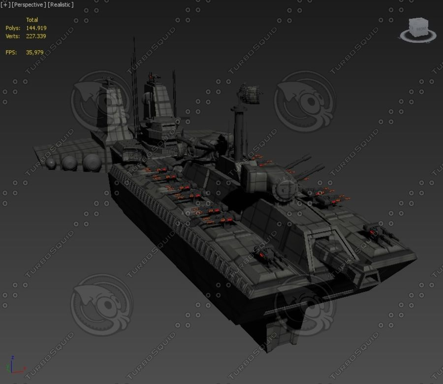 Battleship Sci-fi royalty-free 3d model - Preview no. 3