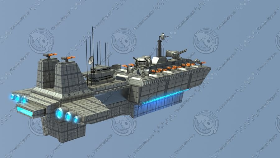 Battleship Sci-fi royalty-free 3d model - Preview no. 2