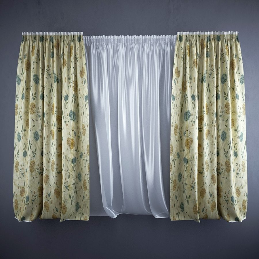 Curtains+tulle(blinds) royalty-free 3d model - Preview no. 1