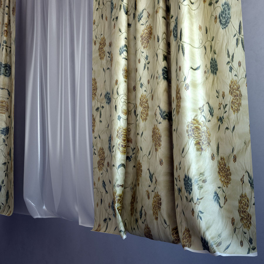 Curtains+tulle(blinds) royalty-free 3d model - Preview no. 4