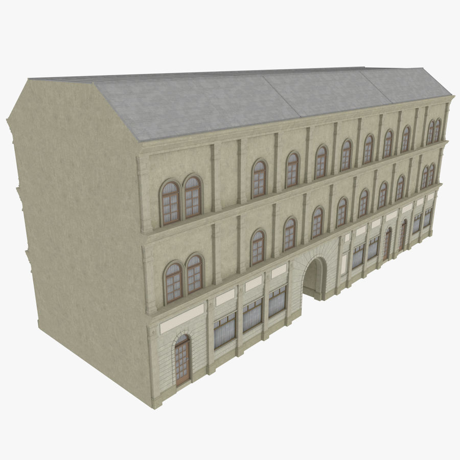 European building one textured royalty-free 3d model - Preview no. 2