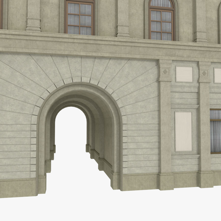 European building one textured royalty-free 3d model - Preview no. 6