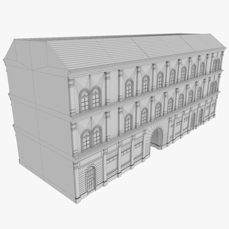 European building one textured royalty-free 3d model - Preview no. 11