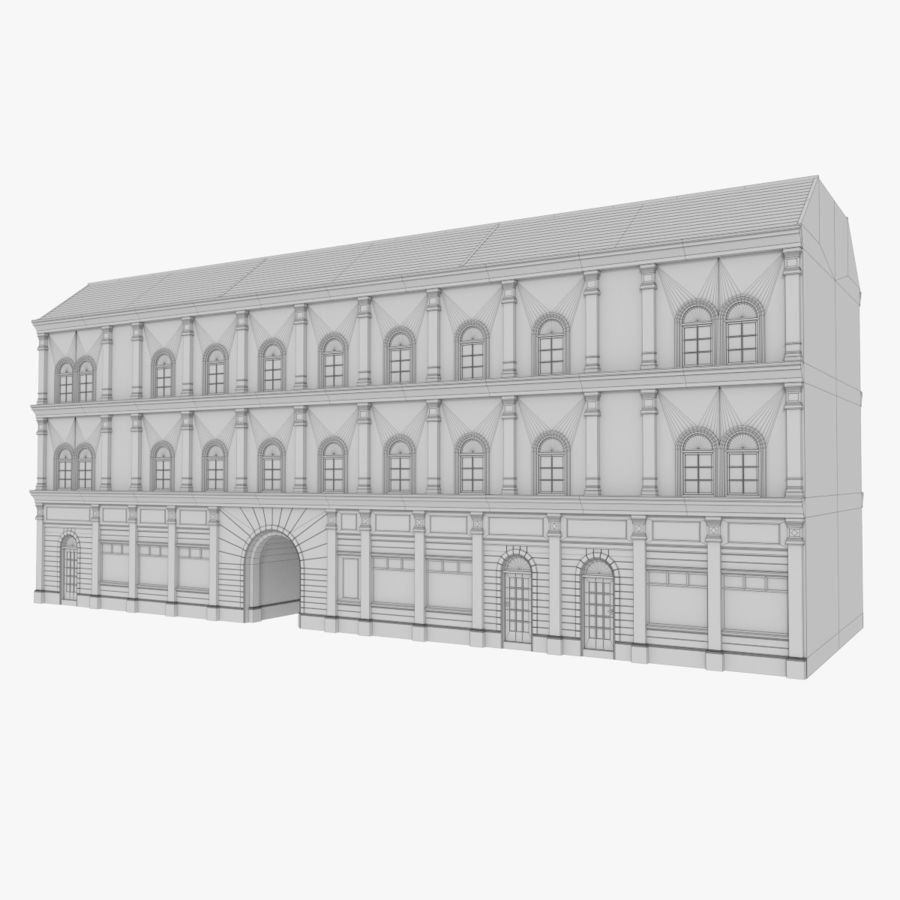 European building one textured royalty-free 3d model - Preview no. 10