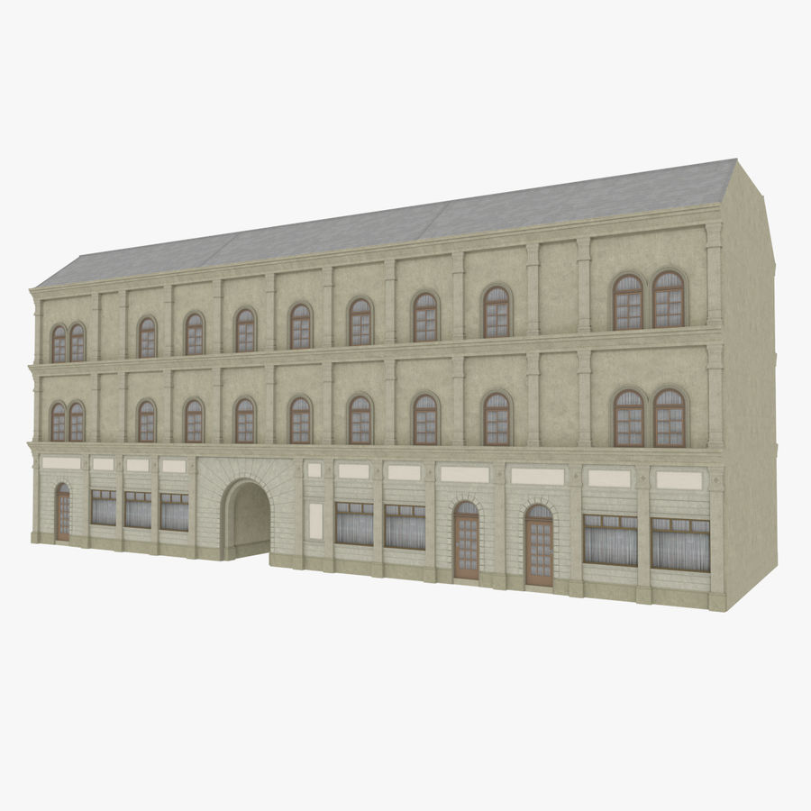European building one textured royalty-free 3d model - Preview no. 1