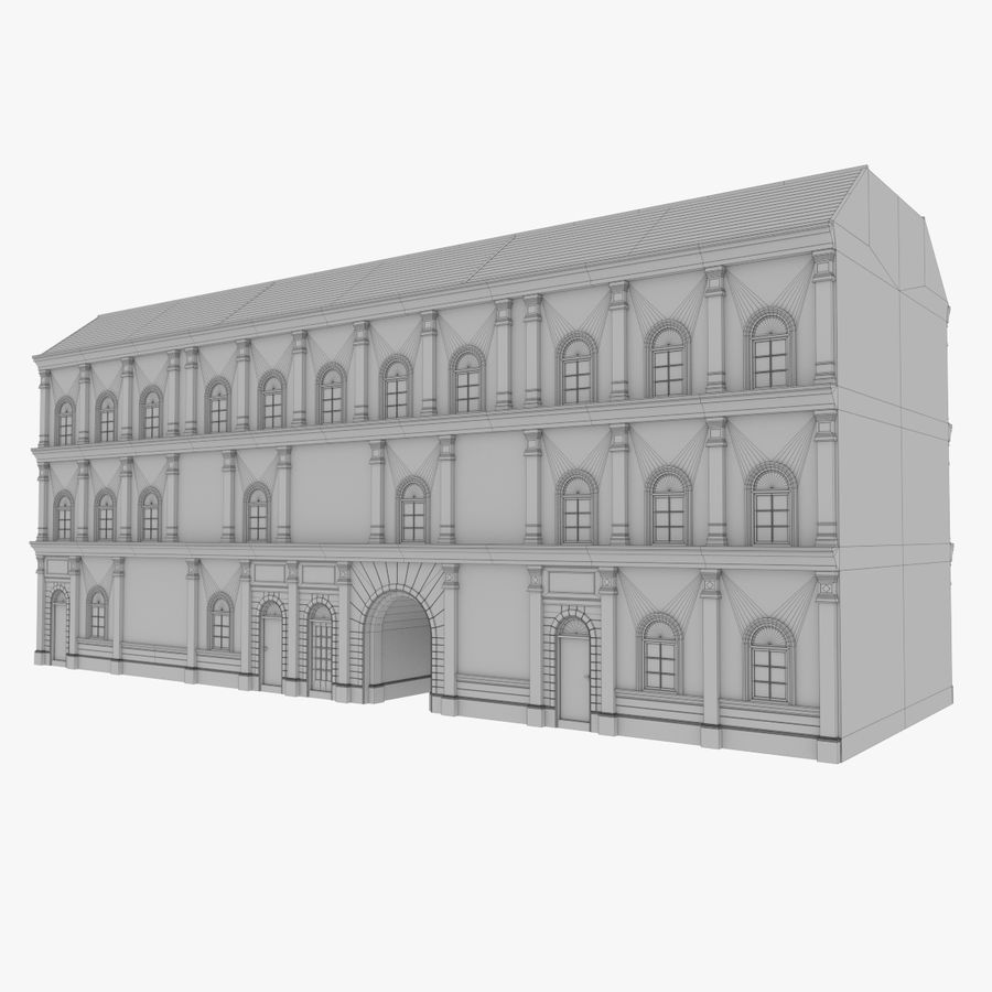 European building one textured royalty-free 3d model - Preview no. 12
