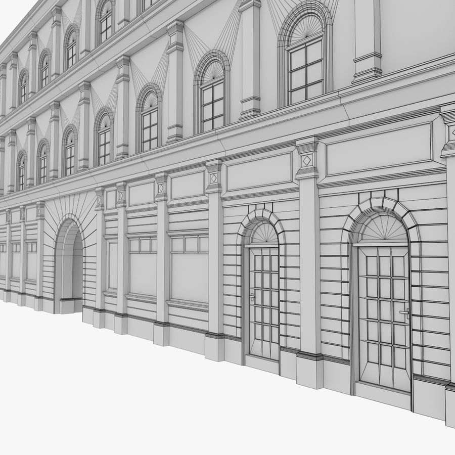 European building one textured royalty-free 3d model - Preview no. 14