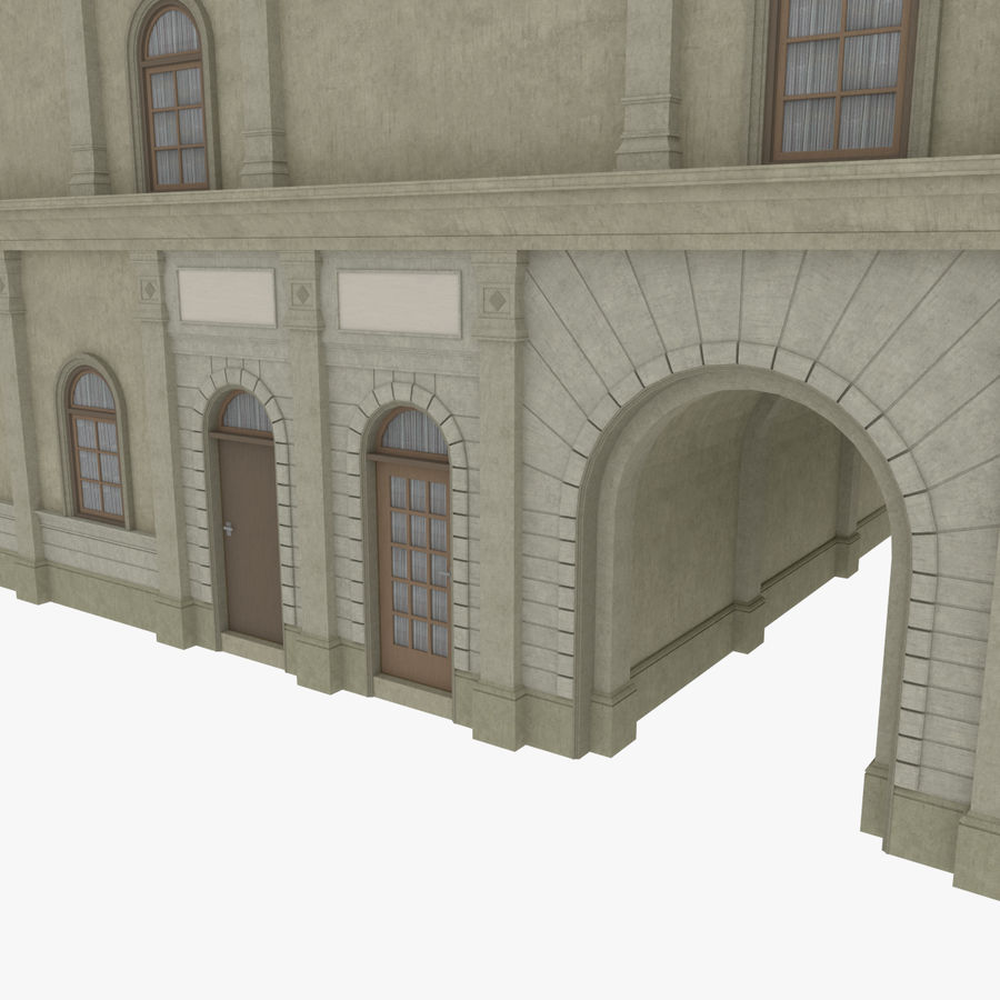 European building one textured royalty-free 3d model - Preview no. 7