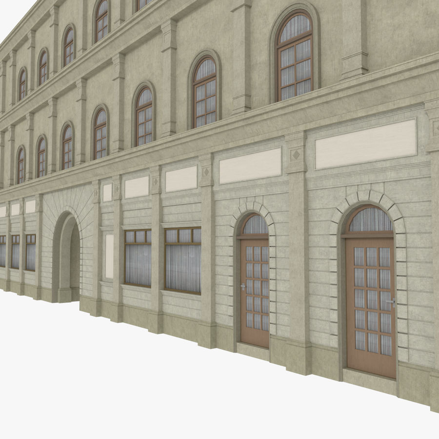 European building one textured royalty-free 3d model - Preview no. 5