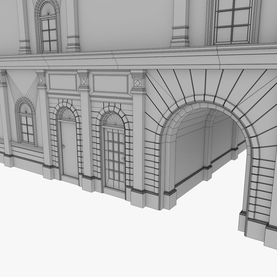 European building one textured royalty-free 3d model - Preview no. 16