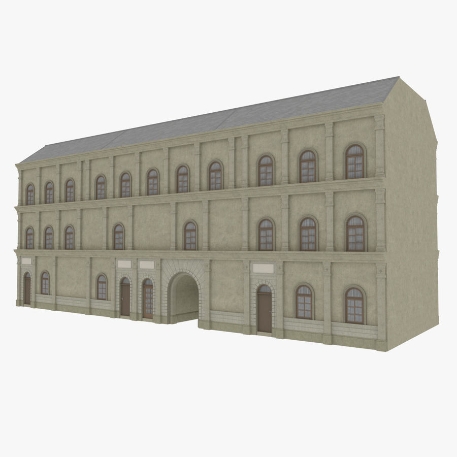 European building one textured royalty-free 3d model - Preview no. 3