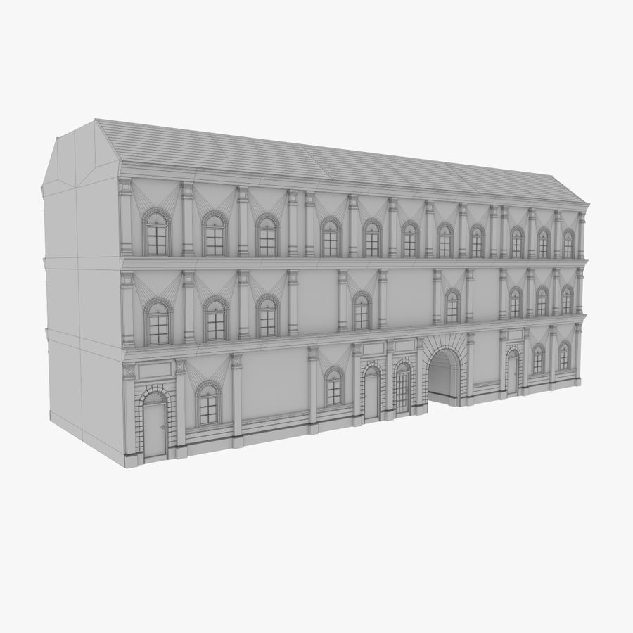 European building one textured royalty-free 3d model - Preview no. 13
