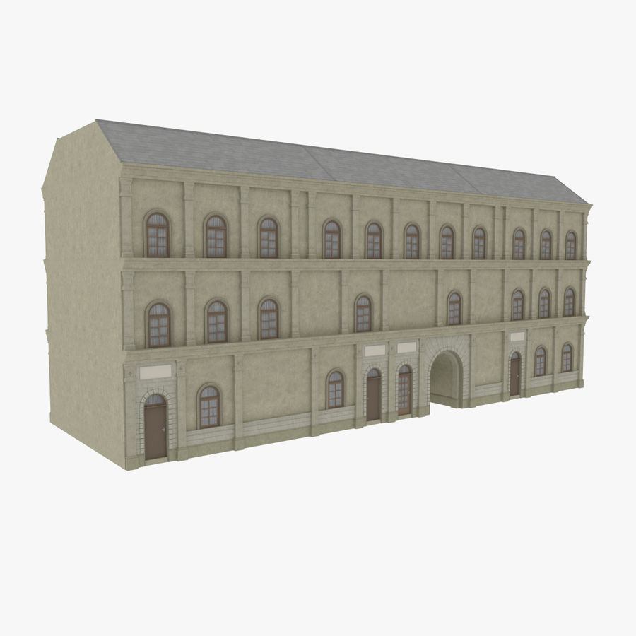 European building one textured royalty-free 3d model - Preview no. 4