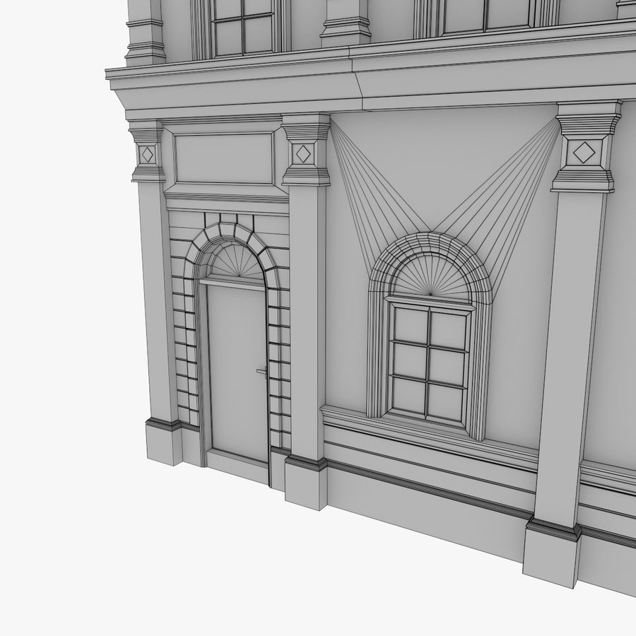 European building one textured royalty-free 3d model - Preview no. 17