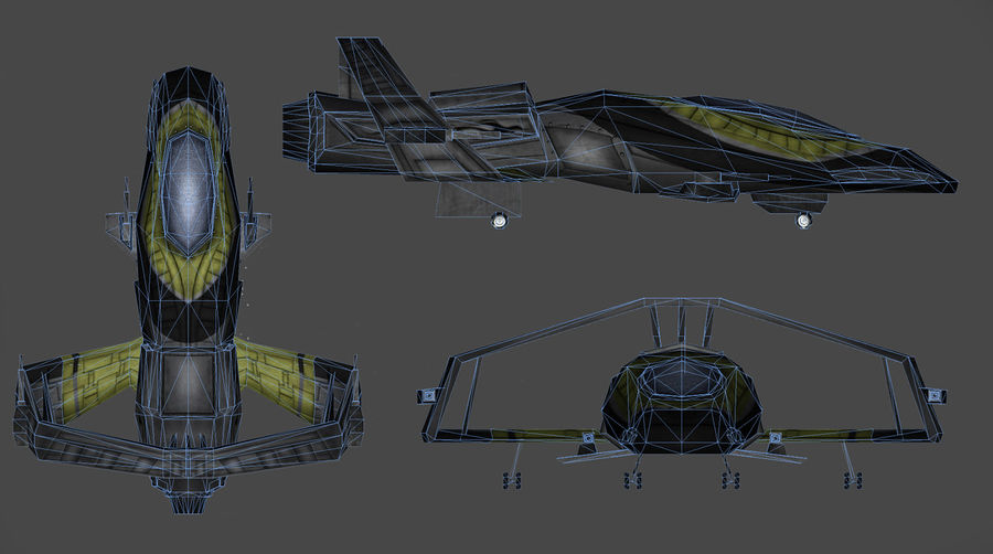 Spaceship Fighter royalty-free 3d model - Preview no. 5