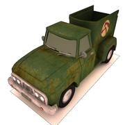 Cartoon Horse Trailer Pickup 3d model