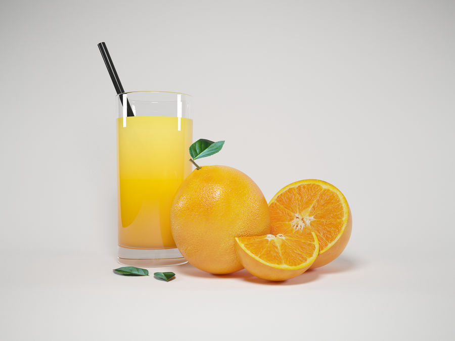 Scène orange réaliste royalty-free 3d model - Preview no. 2