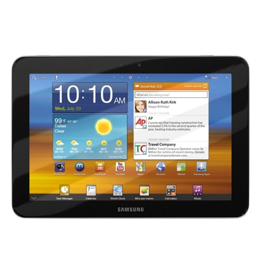 Samsung Galaxy Tab 8.9 royalty-free 3d model - Preview no. 3