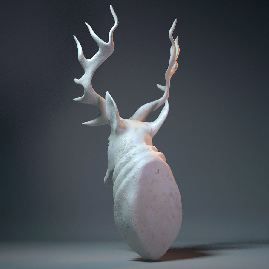 Deer Head Sculpture royalty-free 3d model - Preview no. 5