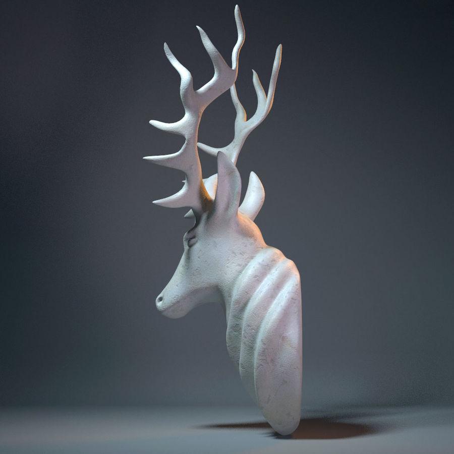 Deer Head Sculpture royalty-free 3d model - Preview no. 6