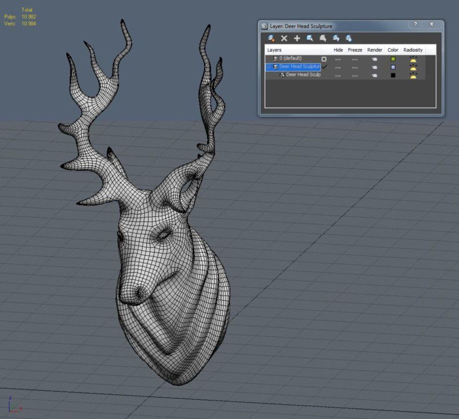 Deer Head Sculpture royalty-free 3d model - Preview no. 17