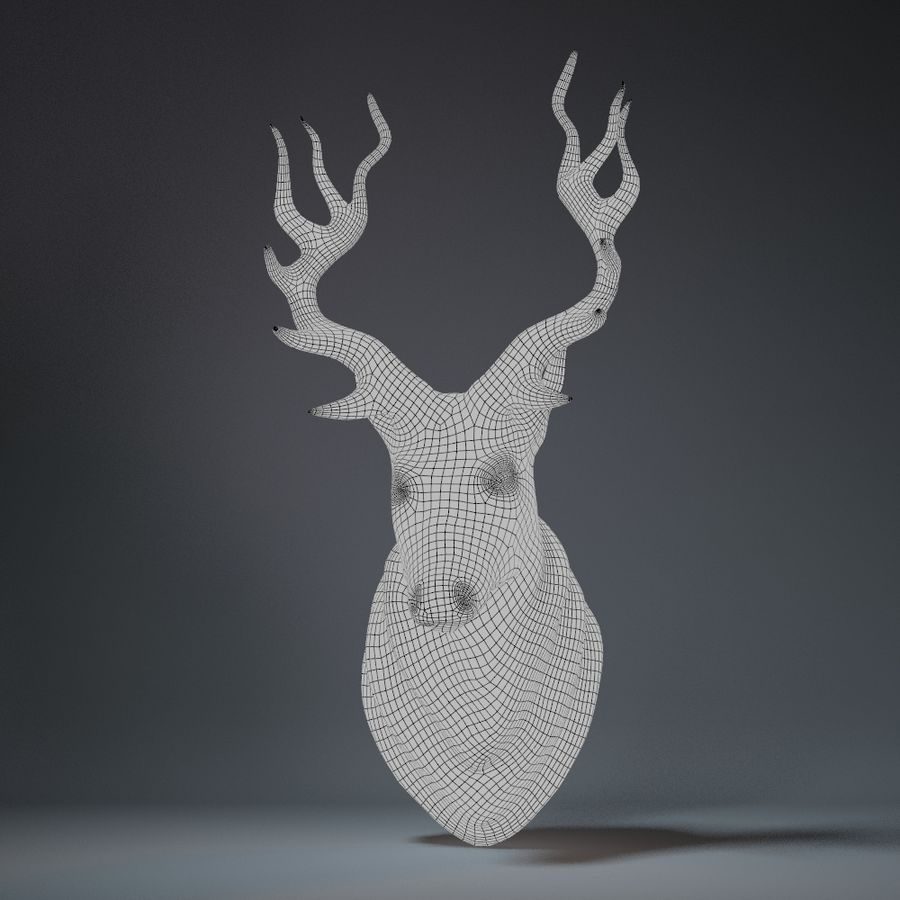 Deer Head Sculpture royalty-free 3d model - Preview no. 9