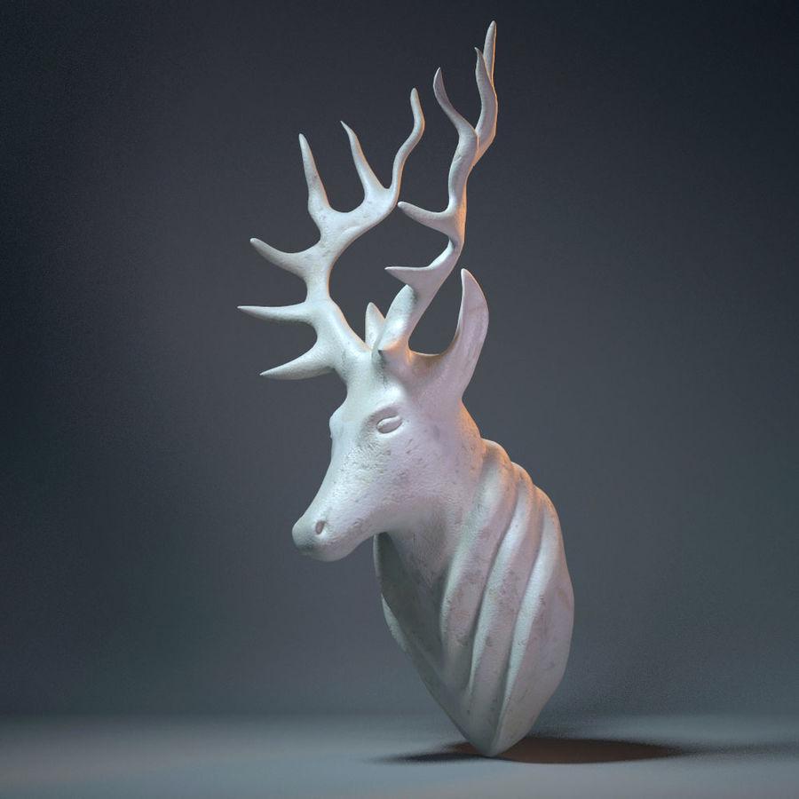 Deer Head Sculpture royalty-free 3d model - Preview no. 7