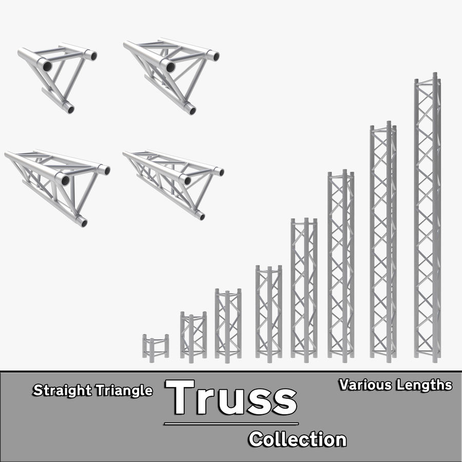 Straight Truss Collection (Triangle) royalty-free 3d model - Preview no. 1