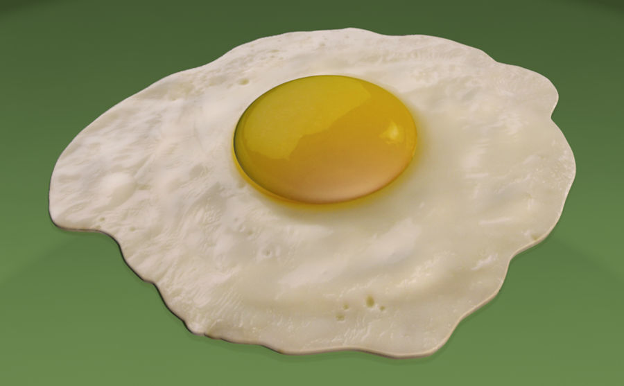 Fried Egg royalty-free 3d model - Preview no. 1
