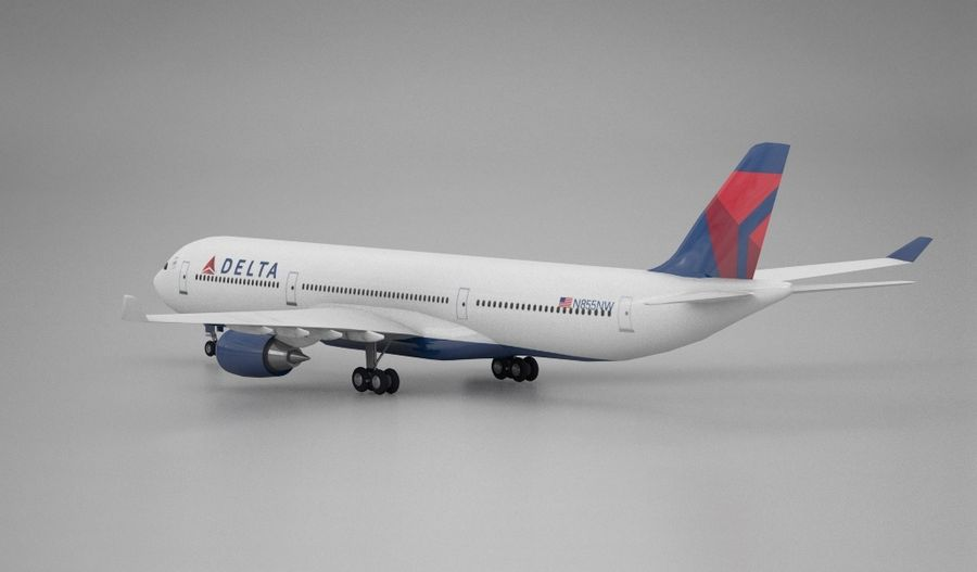 Delta do Airbus A330 royalty-free 3d model - Preview no. 3