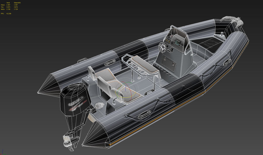 Inflatable boat Zodiac ProOpen 550 royalty-free 3d model - Preview no. 10