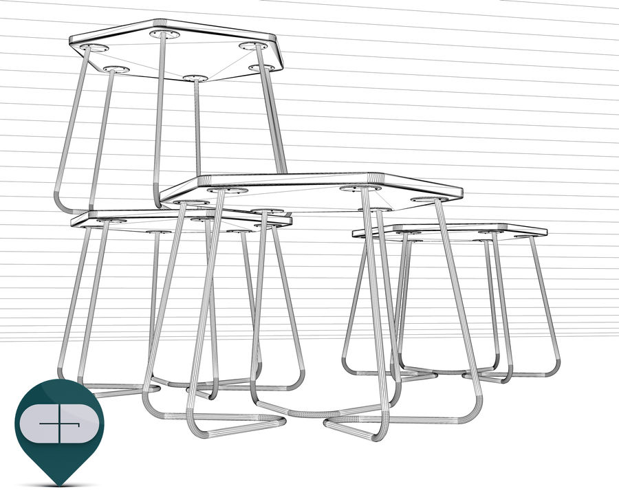 table Hexagon Bijzettafel royalty-free 3d model - Preview no. 7