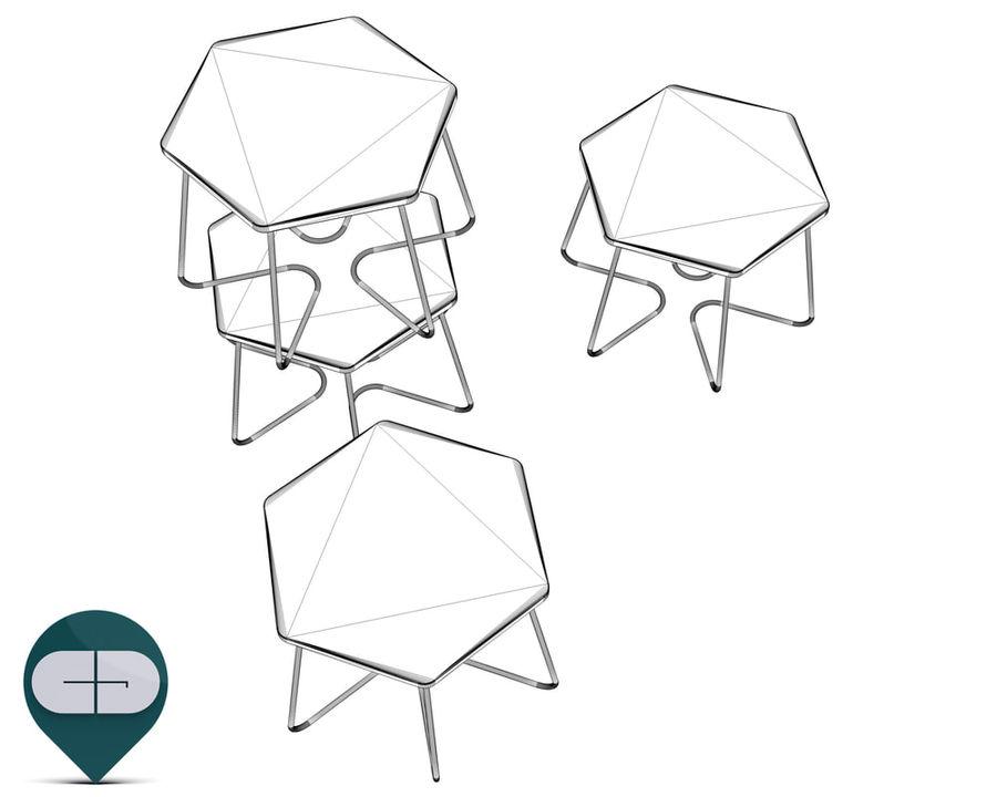 table Hexagon Bijzettafel royalty-free 3d model - Preview no. 6