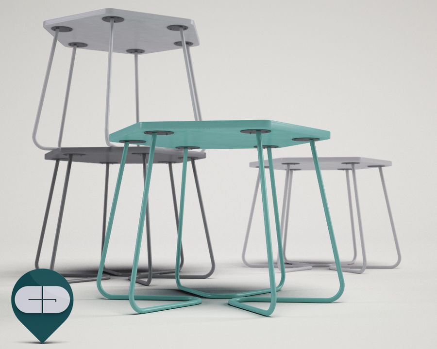 table Hexagon Bijzettafel royalty-free 3d model - Preview no. 3