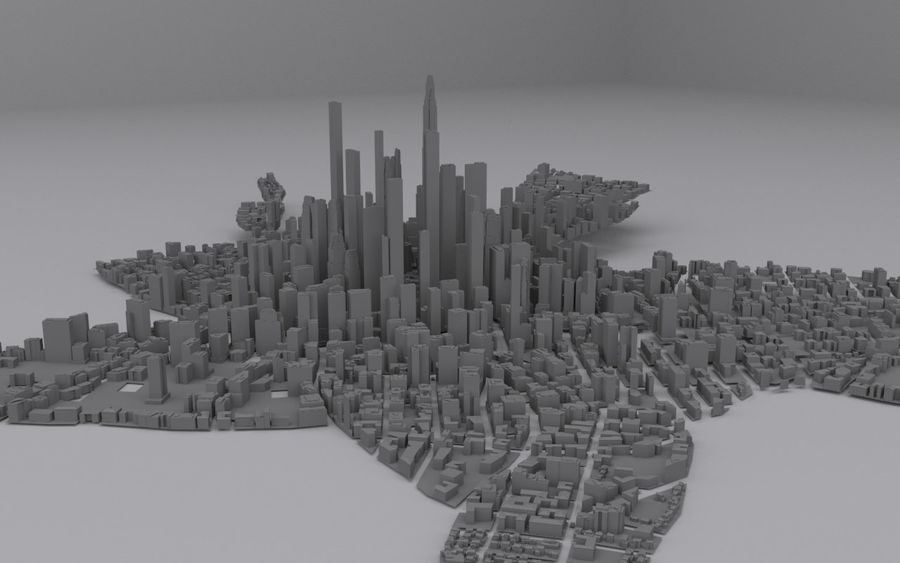 Distant City royalty-free 3d model - Preview no. 2